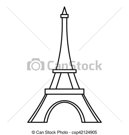 450x470 Eiffel Tower Icon, Outline Style. Eiffel Tower Icon. Outline