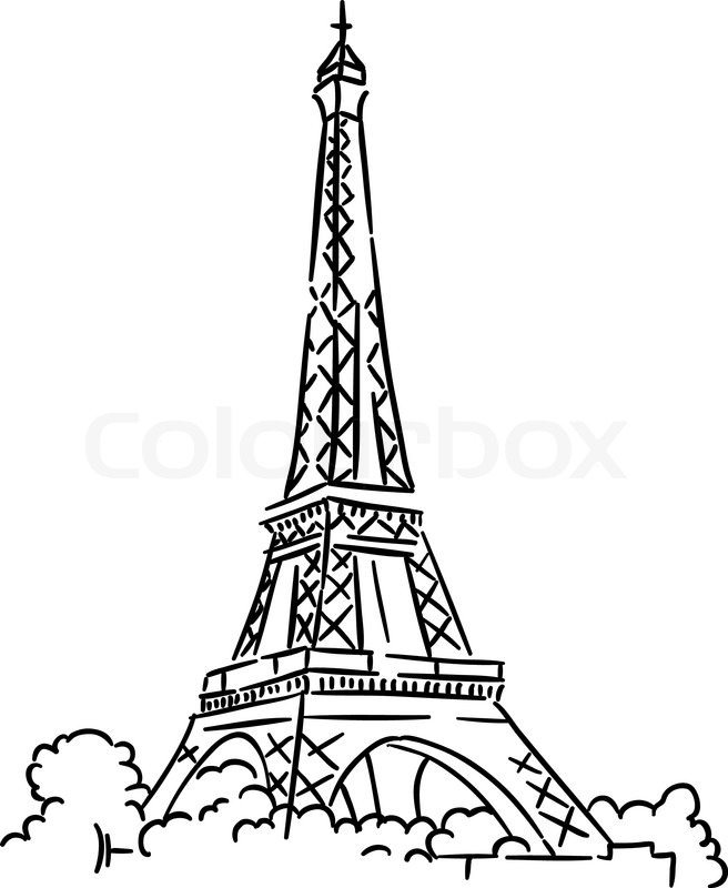 656x800 Eiffel Tower In Paris, France. Sketch Vector Illustration Stock