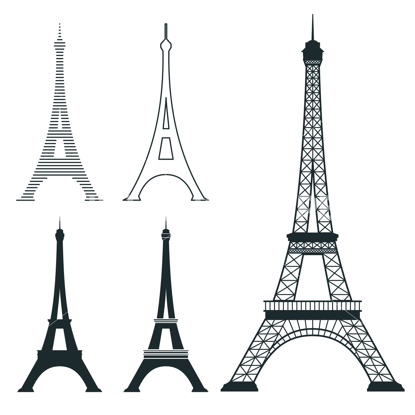 1400x1400 Different Eiffel Tower Vector Landmark Set By Microvector