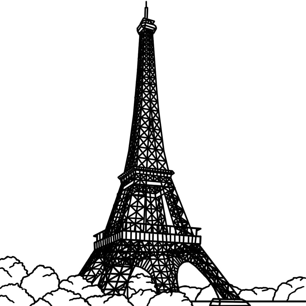 1200x1200 Drawn Eiffel Tower Vector