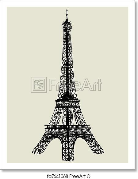 450x580 Free Art Print Of Eiffel Tower. . Eiffel Tower. Vector Sketch