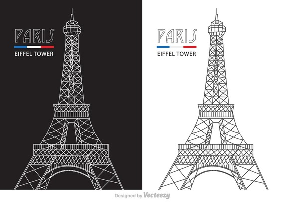 572x407 Abstract Line Eiffel Tower Vector Free Vector Download In .ai
