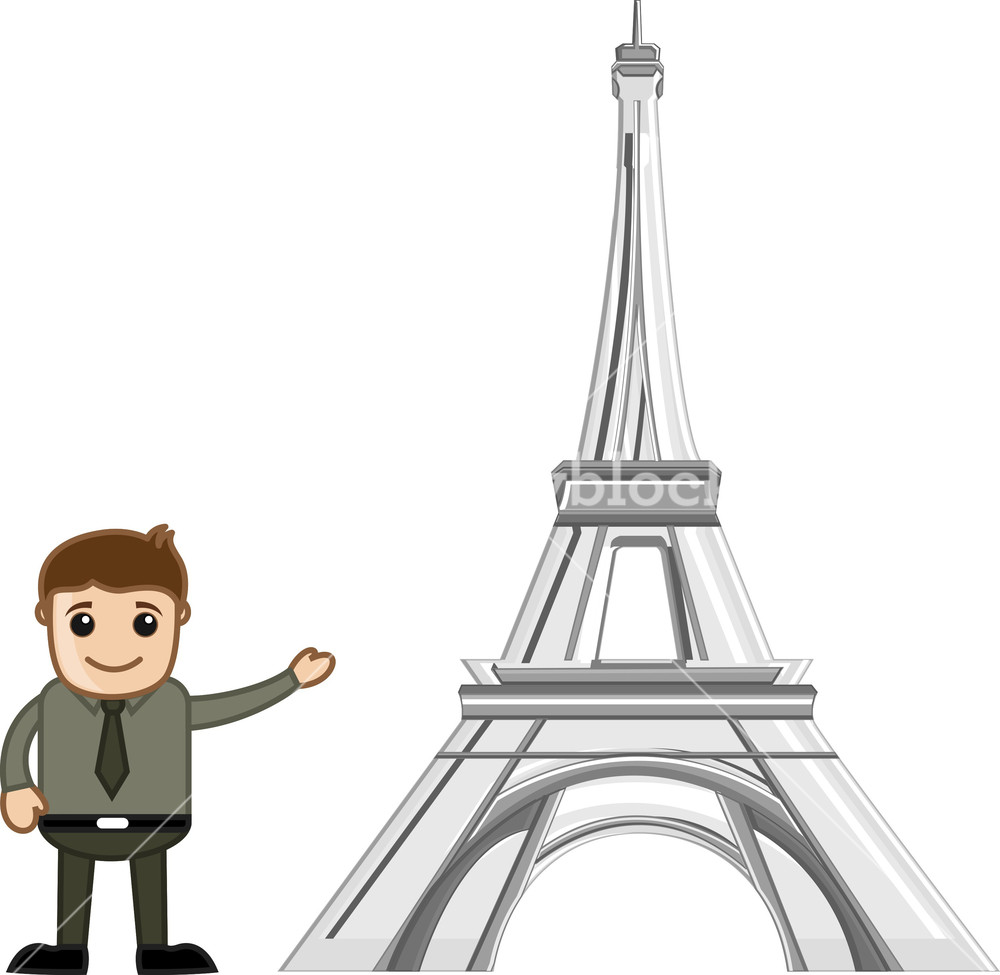 1000x975 Showing Eiffel Tower Vector Cartoon Royalty Free Stock Image