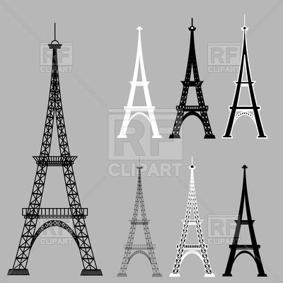 400x400 Silhouettes Of Eiffel Tower Vector Image Vector Artwork Of