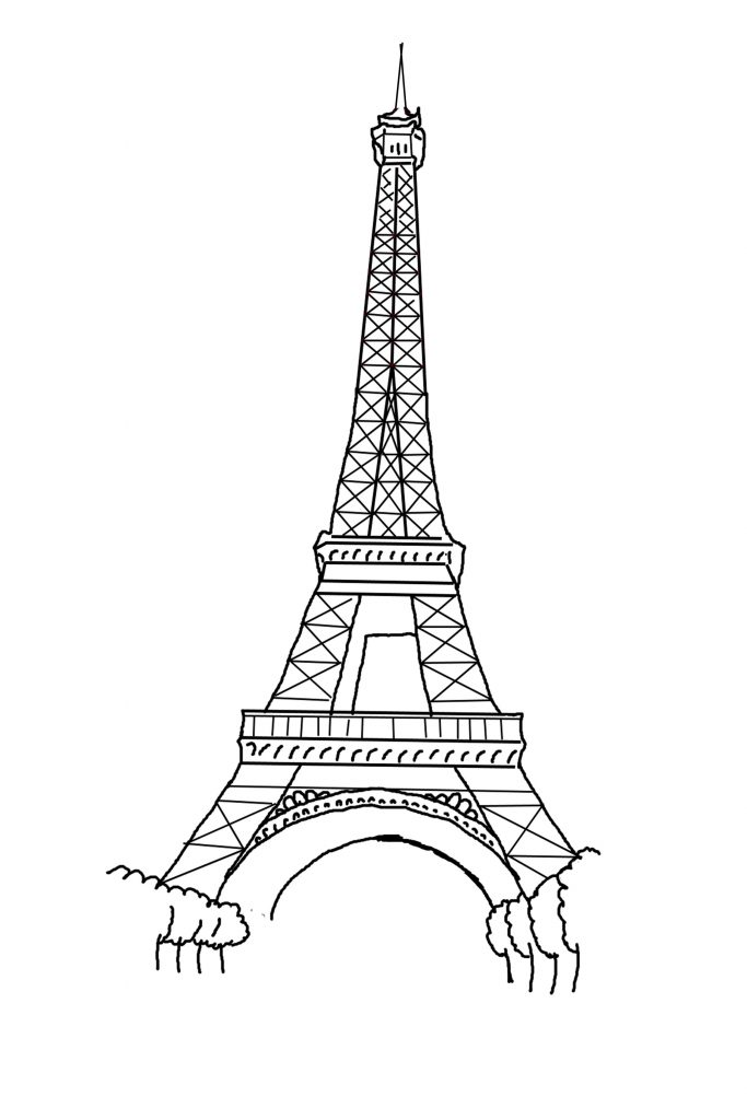 683x1024 Free Eiffel Tower Vector Eiffel Tower Black And White Drawing