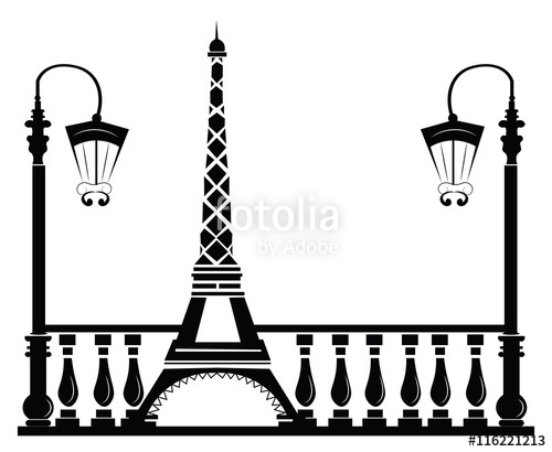 500x410 Paris Street Walkway With Tour Eiffel . Vector Sketch Stock Image