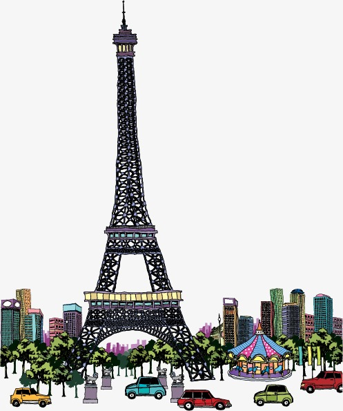 497x595 Vector Eiffel Tower In France, Hand Painted, Eiffel Vector, Tower