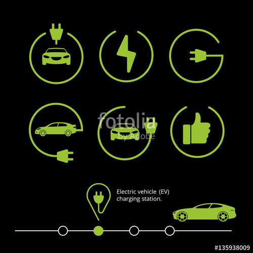 500x500 Vector Electric Vehicle. Electric Car Icon. Hybrid Car