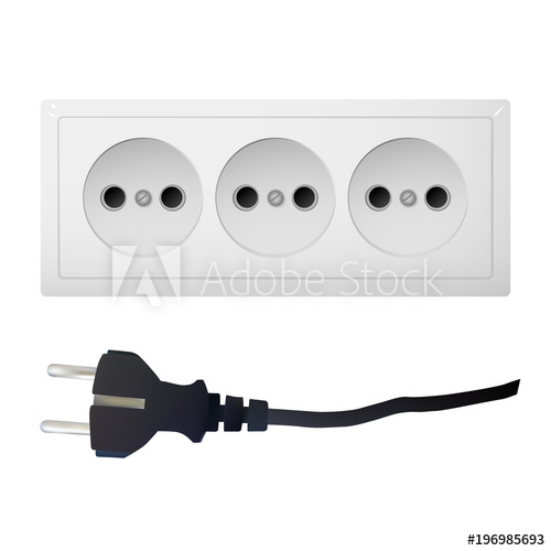 500x500 Electric Adapter With Three Connectors And Plug. Electrical Outlet