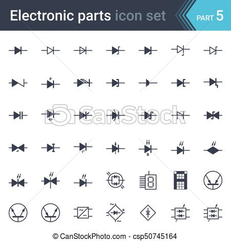 450x470 Electric And Electronic Circuit Diagram Symbols Set Of Diodes And