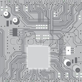 320x320 Electronic Circuit Board Vector With Chip, Technology, Microchip