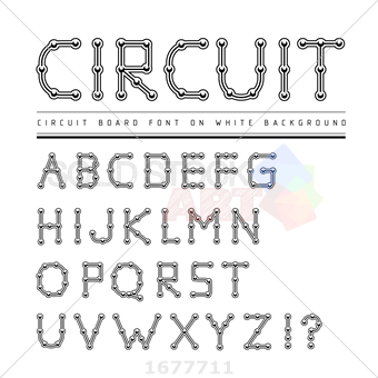340x340 Stock Illustration Of Font Stylized Track Electronic Circuit Board