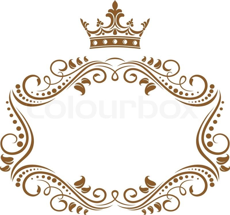 800x748 Elegant Royal Frame With Crown Stock Vector Colourbox