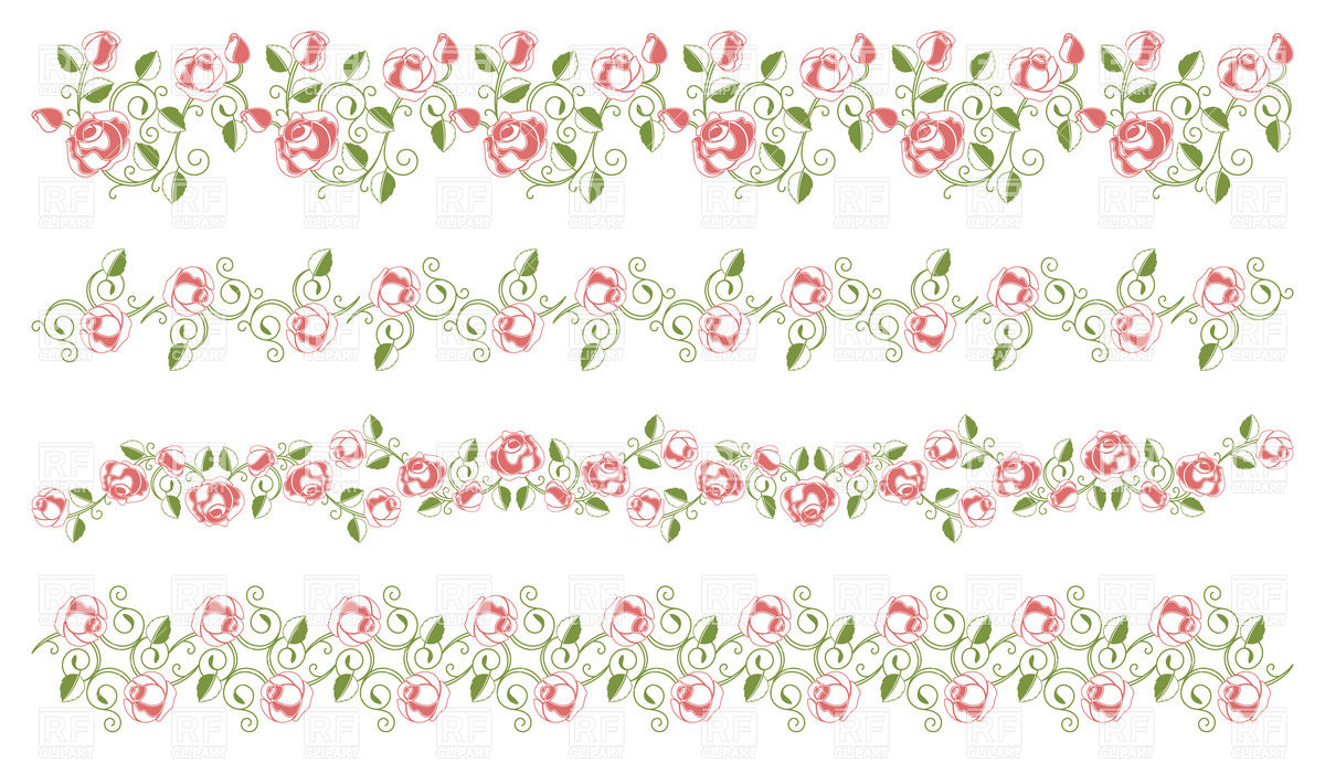 1200x691 Set Of Elegant Floral Borders Vector Image Vector Artwork Of