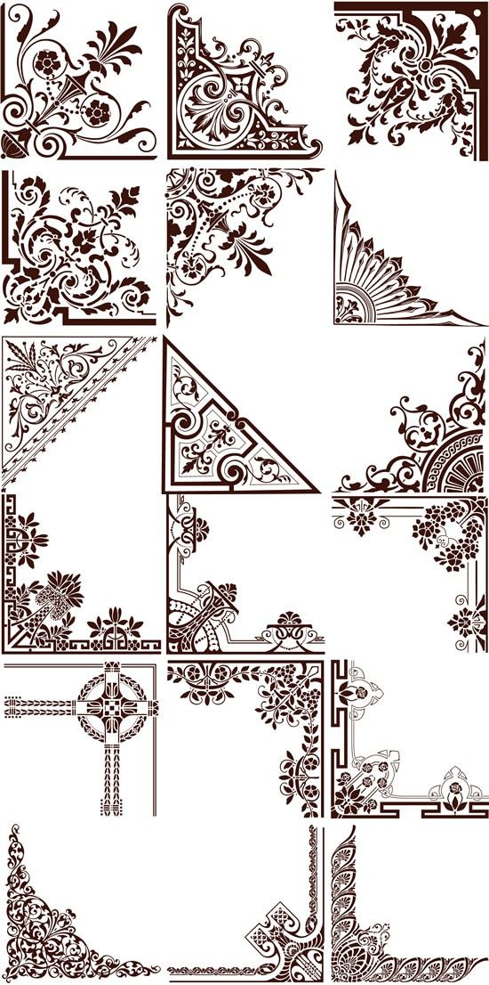 550x1106 Continental Elegant Floral Border Vector Graphics My Free