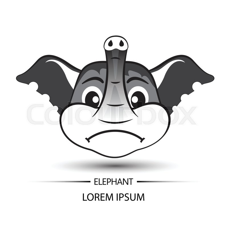 800x800 Elephant Face Frown Logo And White Background Vector Illustration