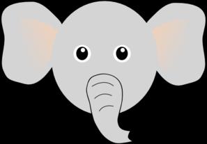 297x207 Funny Elephant Face Cartoon Clip Art