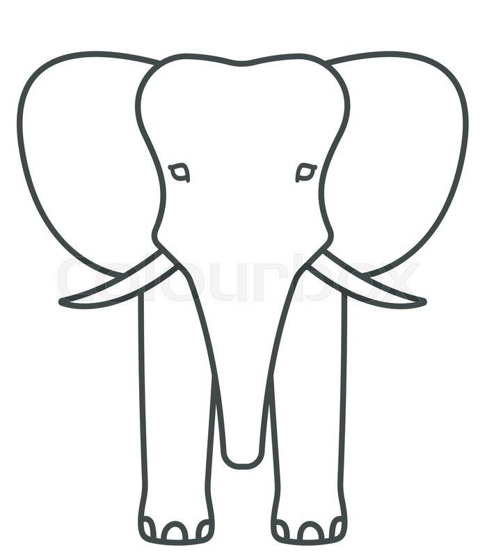 700x800 Illustration Of The Cartoon Contour Elephant Face Icon Stock