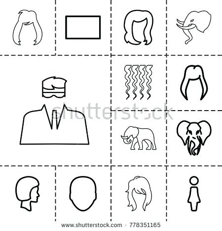 450x470 Portrait Icons Set Editable Outline Stock Vector Of Such As