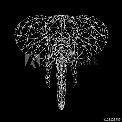 500x500 Vector Elephant Thin Line Style. Elephant Low Poly Design