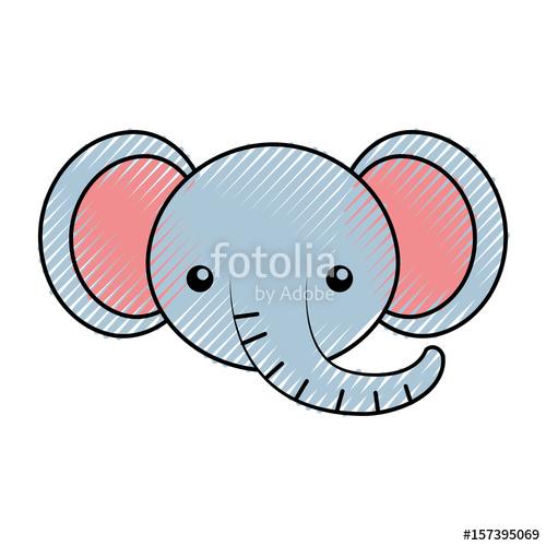 500x500 Cute Scribble Elephant Face Cartoon Graphic Design Stock Image
