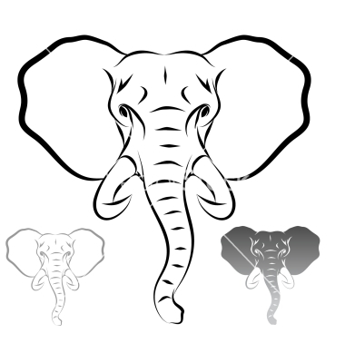 380x400 Elephant Face Outline Stylized Elephant Head Vector 1679715