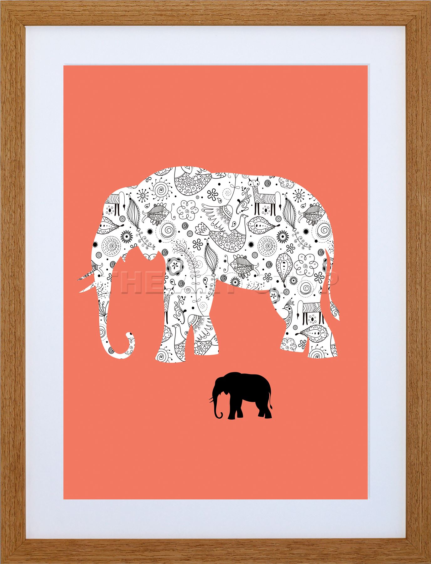 1376x1800 9x7 ' Painting Elephant Design Inset Objects Vector Framed Art