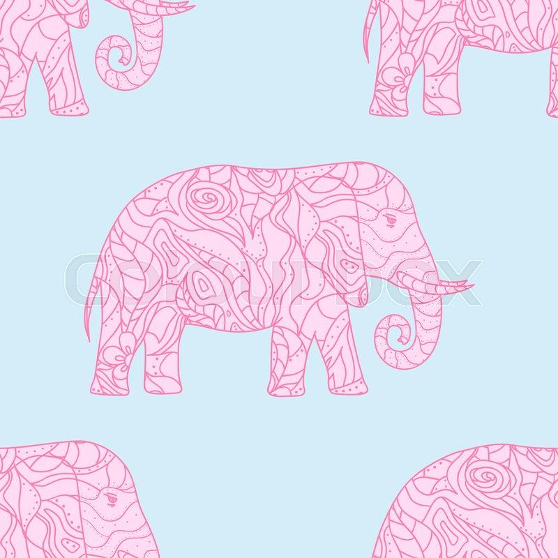 800x800 Seamless Pattern. Elephant. Design Zentangle. Hand Drawn Animal