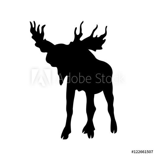 500x500 Moose Elk Vector Illustration Black Silhouette