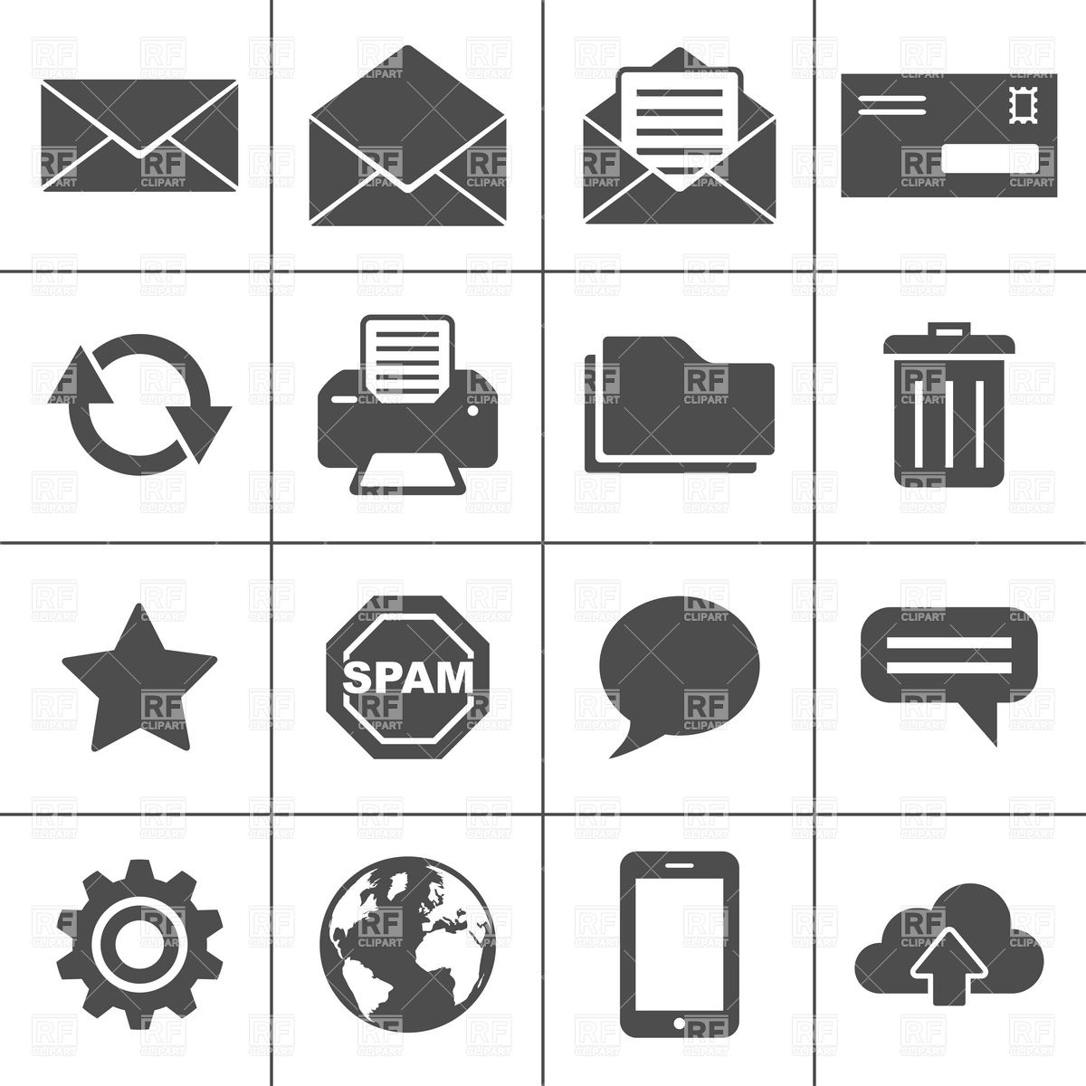 1200x1200 Email And Communication Icons Vector Image Vector Artwork Of