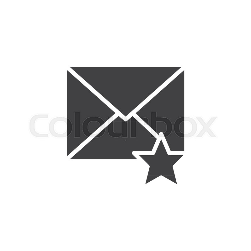 800x800 Favorite Email Icon Vector, Filled Flat Sign, Solid Pictogram