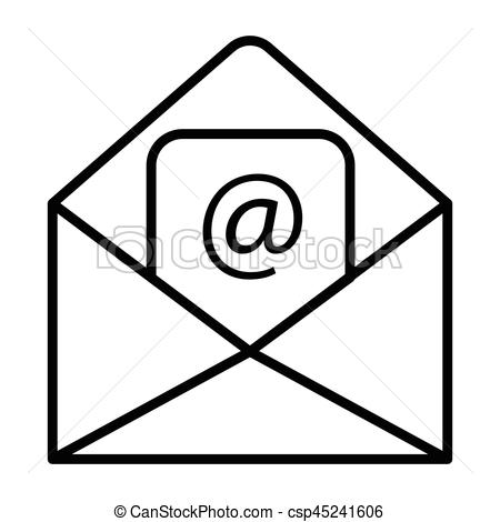 450x470 Simple Thin Line Email Icon Vector.