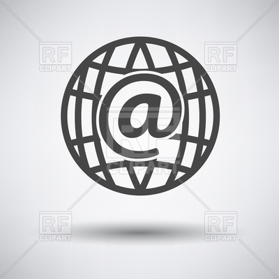400x400 Global Email Icon On Gray Background With Round Shadow Vector