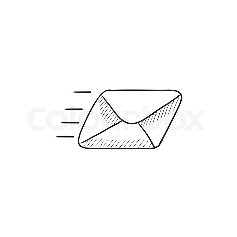 800x800 Flying Email Vector Sketch Icon Isolated On Background. Hand Drawn