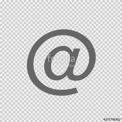 500x500 Email Vector Icon Eps 10. At Sign On Transparent Background