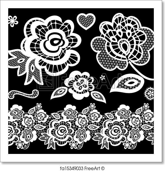 561x581 Free Art Print Of Lace Embroidery Vector. Lace Embroidery Design