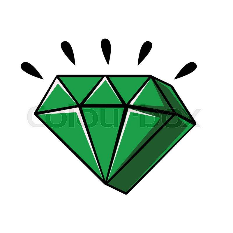 800x800 Emerald Crystal Of A Diamond Shape, Cartoon Vector Illustration