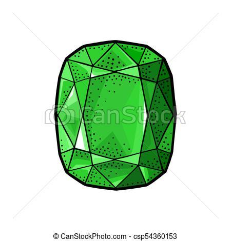 450x470 Emerald Gem Stone. Vintage Color Vector Engraving Illustration For