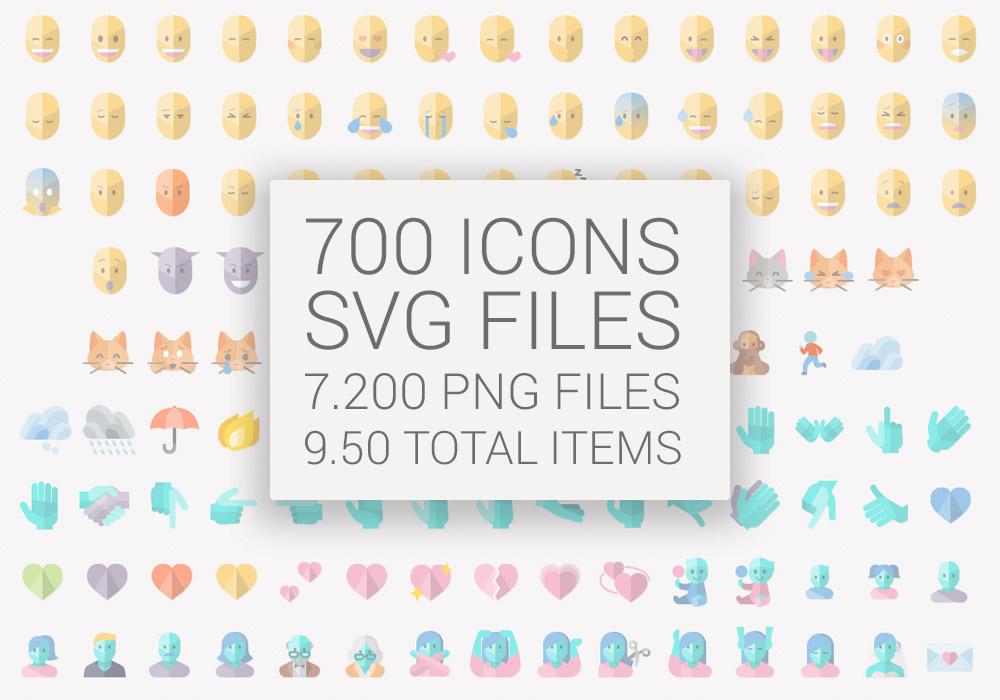 1000x700 Flat Emoji List Vector Pack