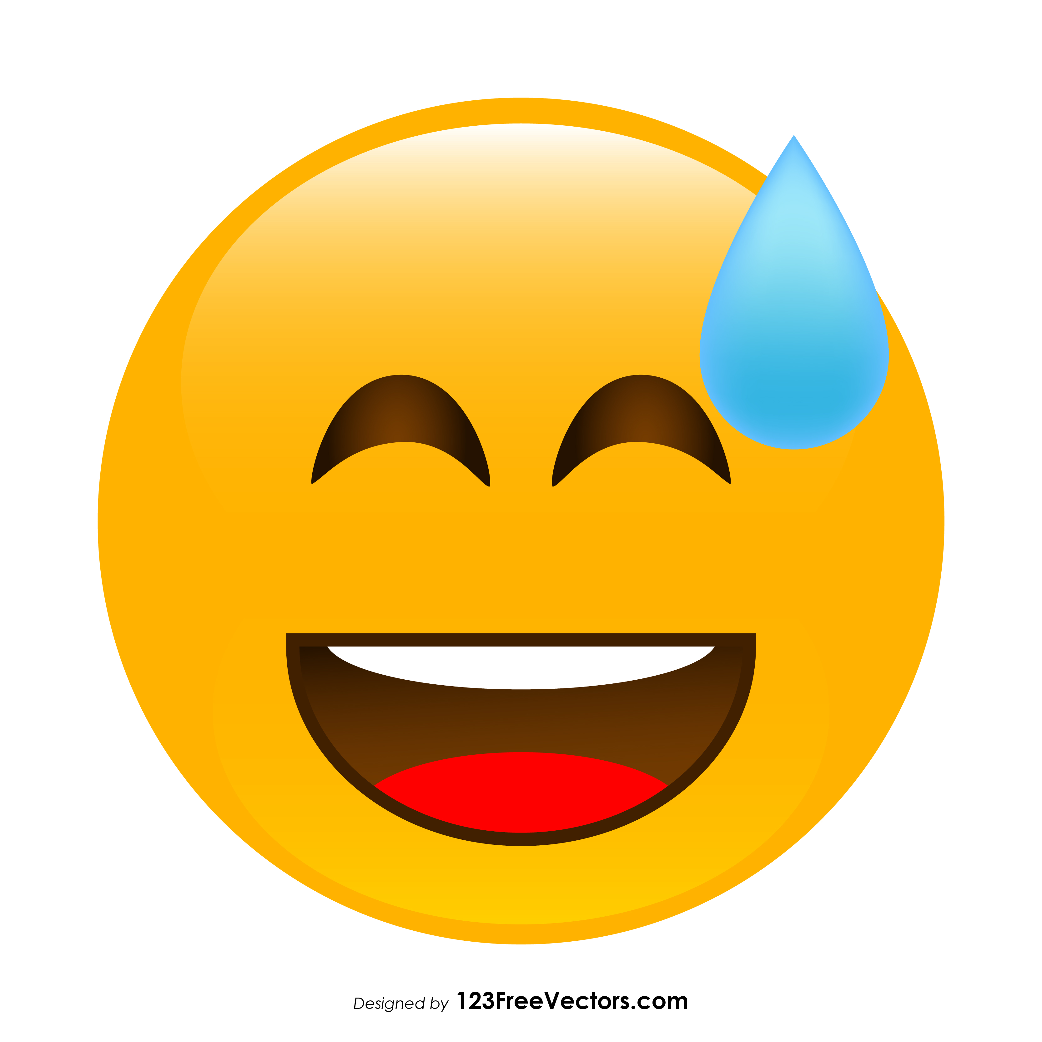 3333x3333 Grinning Face With Sweat Emoji Vector Download 123freevectors