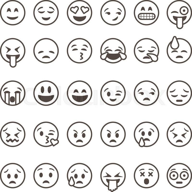 800x800 Set Of Outline Emoticons, Emoji Isolated On White Background