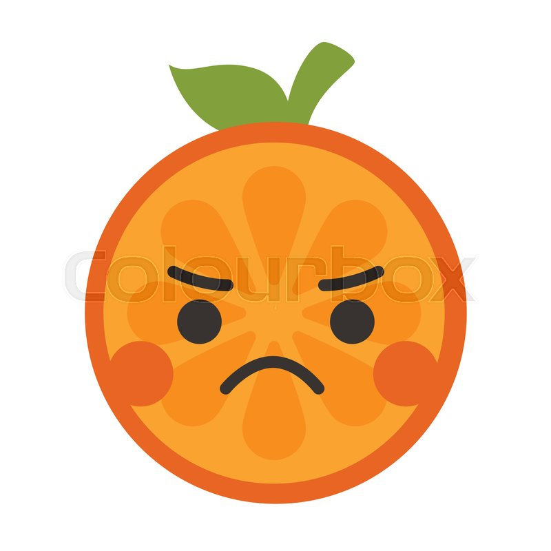 800x800 Angry Face Emoji. Angry Orange Fruit Emoji. Vector Flat Design
