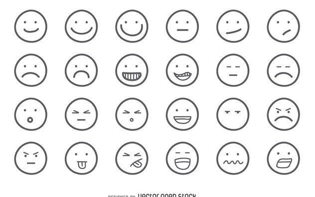 632x395 Emoji Outline Set Free Vector Download 376541 Cannypic