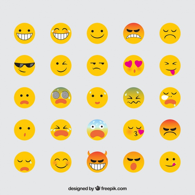 626x626 Variety Of Expressive Emojis In Flat Design Vector Free Download