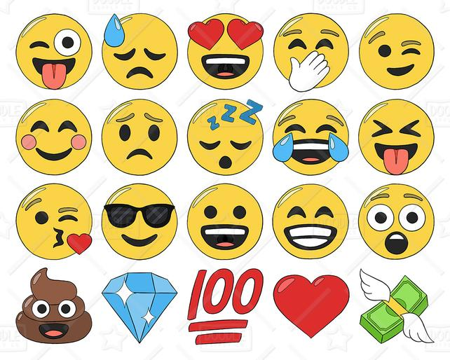 642x514 Emoji Clipart Vector Pack Smiley Faces Clipart Hand Drawn Etsy