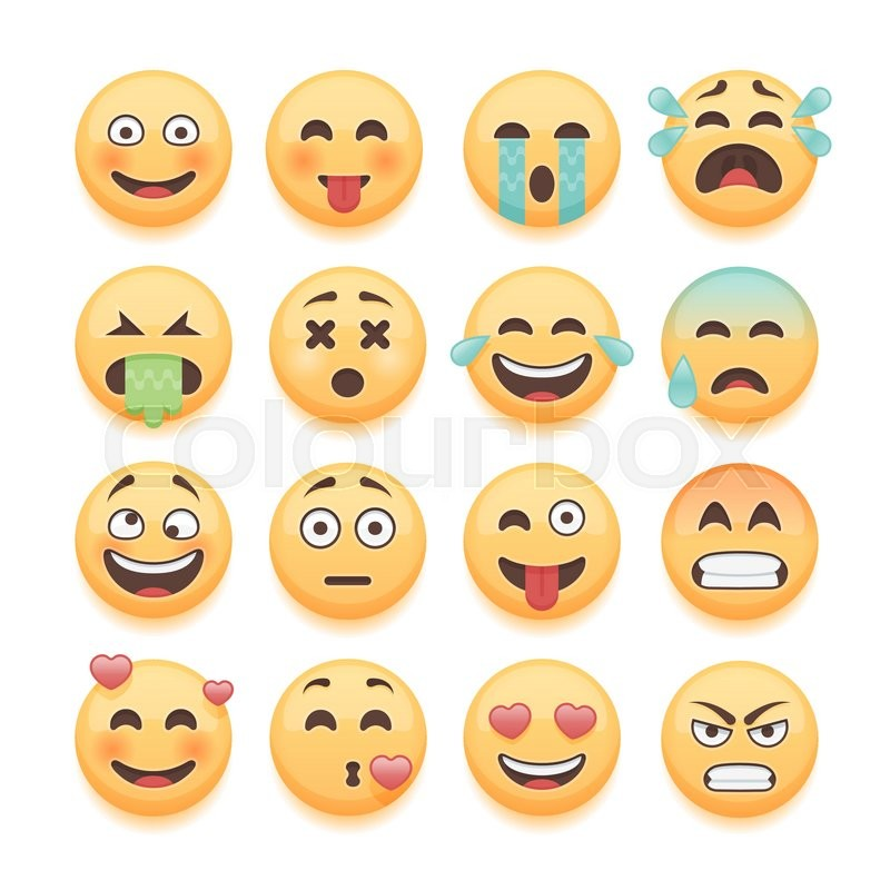 800x800 Emoticons Set, Emoji Set, Smiley Collection. Emoticons Pack For
