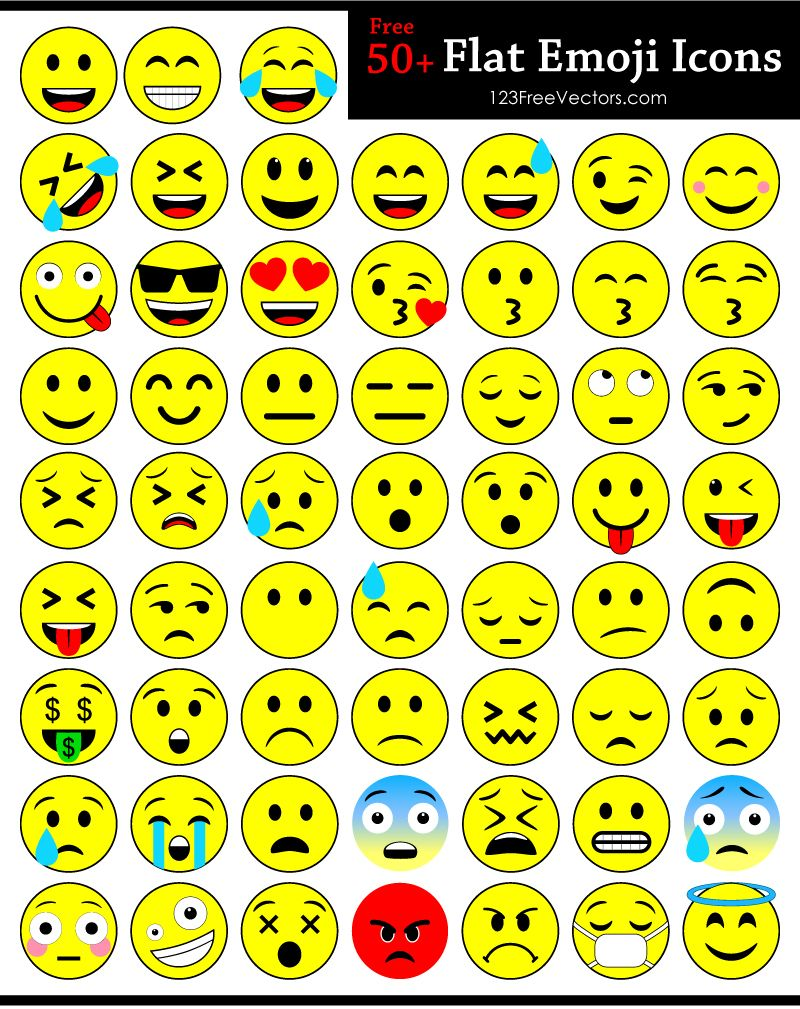 800x1009 Flat Emoji Icons Free Vector Pack Free Vectors