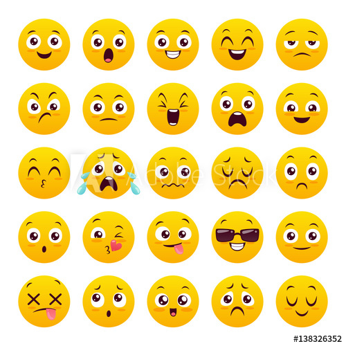 500x500 Set Of Twenty Five Emoticons. Icon Pack. Yellow Emoji Isolated On