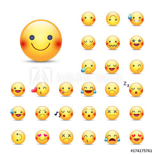 500x500 Smileys Vector Icon Set. Emoticons Pack. Happy, Merry, Singing