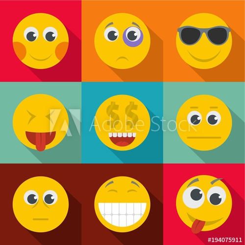 500x500 Expression Of Emotion Icons Set. Flat Set Of 9 Expression Of